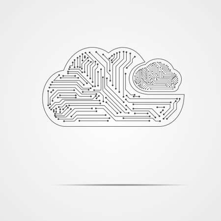 Vector : Electronic circuit inside cloud on gray background