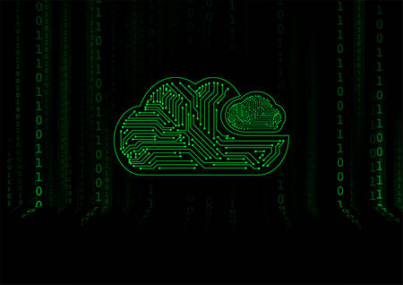 Vector : Electronic circuit in cloud on binary background