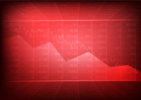 Vector : Red stock board and decreasing business graph