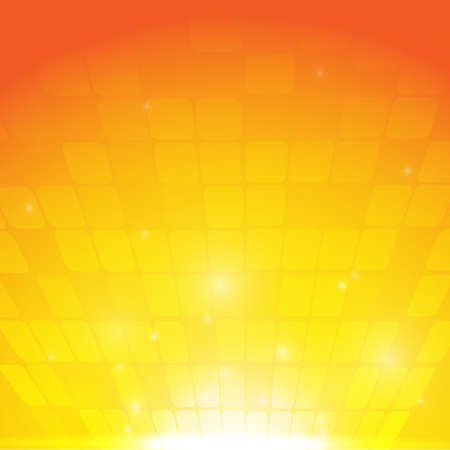 Vector : Abstract squares with orange yellow background