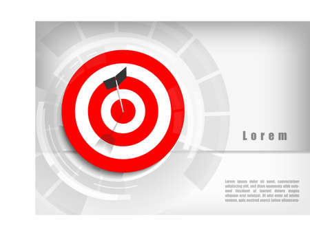 Vector : Arrows and missed archery target on gray background Çizim