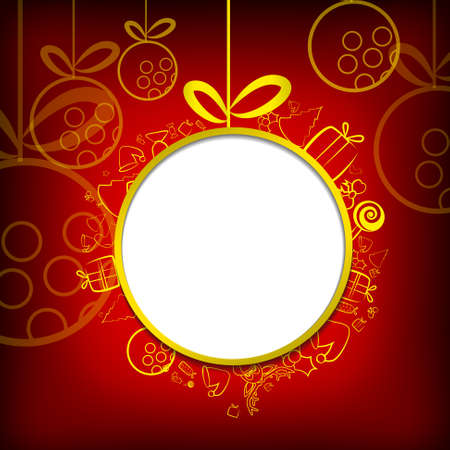 Vector : Christmas items with circle space on red background