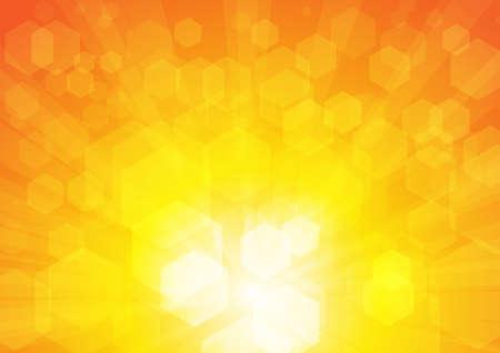Wektor: Abstrakcyjne pięciokąty na żółtym tle