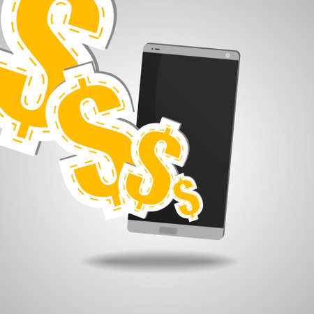 Vector : Smartphone with dollar signs on gray background