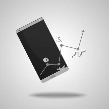 Vector: Smartphone with business graphs on gray background