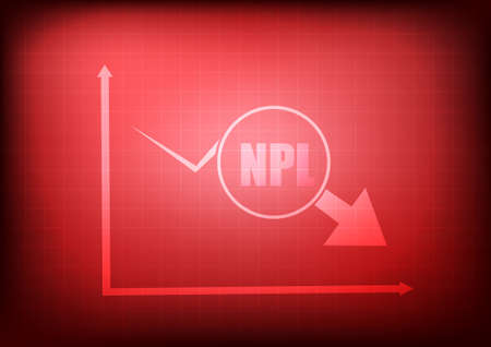 Vector : Decreasing business graph with npl on red background Çizim
