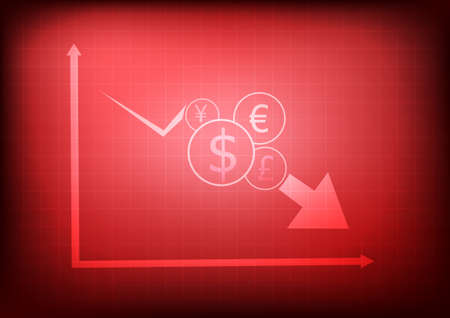 Vector : Decreasing business graph with currency symbols on red background Çizim