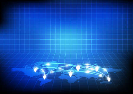 Vector : world map with network on blue background