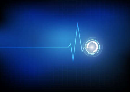 Vector : Cardiogram with heartbeat on grid background Foto de archivo - 138297719