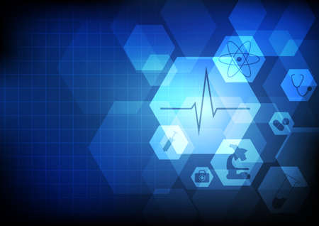 Vector : Healthcare icons on blue background Çizim
