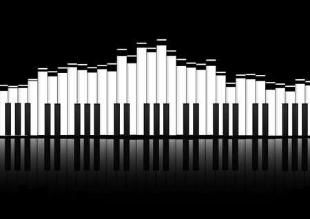 Vector : Piano keyboard equalizer concept on black background Vettoriali