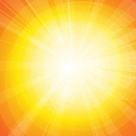 Vector : Sun and lens flare on orange background Vecteurs