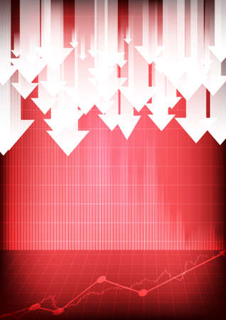 Vector : Decreasing business graphs and arrows on red background