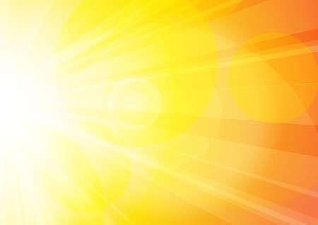 Vecteur : Soleil jaune et orange abstrait brille avec bokeh