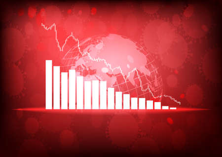 Vector : Decreasing business graphs with virus and world on red background