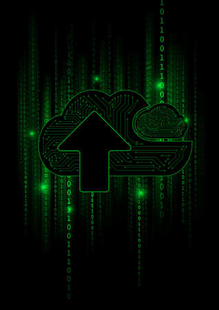 Vector : Cloud and arrow with green binary code on black background