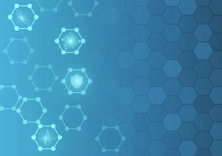 Vector : Medical logo with blue hexagons background  イラスト・ベクター素材