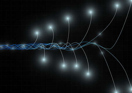 Vector : Abstract technology wire lines on black grid background  イラスト・ベクター素材