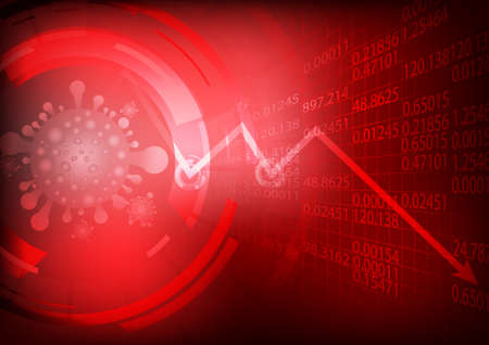 Vector : Falling business graph with virus on stock board