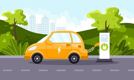An electric car charges from an electric vehicle charging station. Natural landscape. Concept of preserving the green environment and the ecology. Caring for the future. Vector flat illustration.