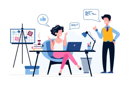 Happy female office worker. The boss praises his employee. Like icon. Good job. Successful Businesswoman. Vector illustration. Office work concept. Personal Assistant to the Managing Director.