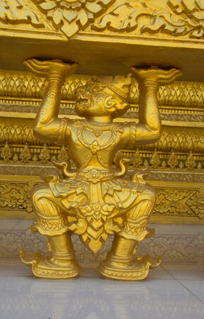 chachoengsao: Hanuman, Thai style statue at temple wall. Chachoengsao province, Thailand Stock Photo