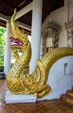 Golden Naga statue on the stairs at the temple entrance. Imagens