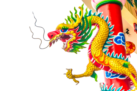 Chinese Dragon with white background.Chinese dragon statue on the pole.
