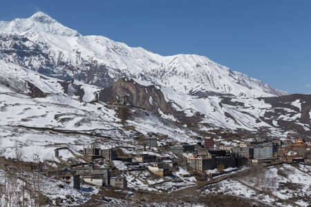 Local houses at Muktinath village in lower Mustang district, Nepal. This photo was shot in early morning.Area was cover by snow. photo