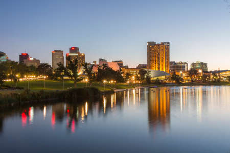 This photo was shot from the center city of Adelaide, Australia after sunset. Editorial