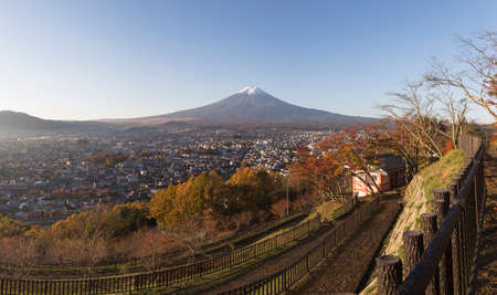 saiko: This photo was shot from the area around Mt.Fuji in Autumn. It is time to start snow cap on the top of Mt.Fuji. Chureito pagoda in one of the most famous to visit. Stock Photo