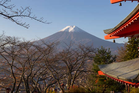 This photo was shot from the area around Mt.Fuji in Autumn. It is time to start snow cap on the top of Mt.Fuji. Chureito pagoda in one of the most famous to visit. photo