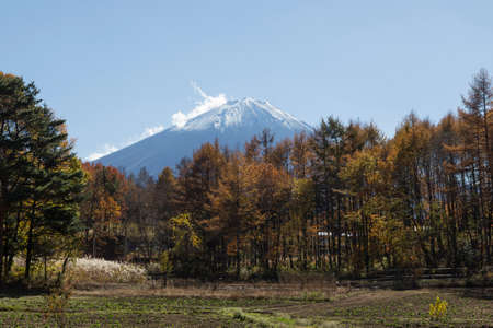 shoji: This photo was shot from the area around Mt.Fuji in Autumn. It is time to start snow cap on the top of Mt.Fuji. There are 5 lake around Mt.Fuji. Stock Photo