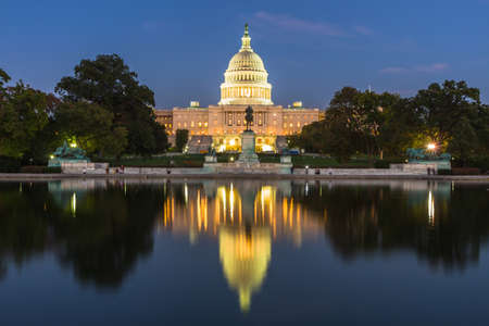This photo was shot from the US Capital building in Washington DC, USA in the evening after sunset.