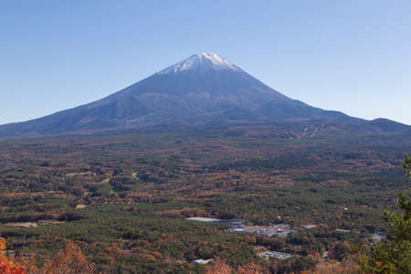 This photo was shot from the area around Mt.Fuji in Autumn. It is time to start snow cap on the top of Mt.Fuji. There are 5 lake around Mt.Fuji. This is shot from Mt.Koyodai. photo