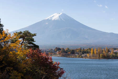 mt: This photo was shot from the area around Mt.Fuji in Autumn. It is time to start snow cap on the top of Mt.Fuji. There are 5 lake around Mt.Fuji. Stock Photo