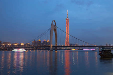 perl: Guangzhou city, This photo was shot from perl river at Guangzhou after sunset.
