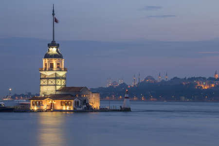 istanbul night: Maiden Tower located in Bosphorus strait, Istanbul, Turkey Stock Photo