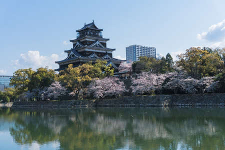 Hiroshima Castle is a castle in Hiroshima, Japan. It was constructed in the 1590s, but was destroyed by the atomic bombing on August 6, 1945. It was rebuilt in 1958, a replica of the original that now serves as a museum of Hiroshima's history before World 報道画像