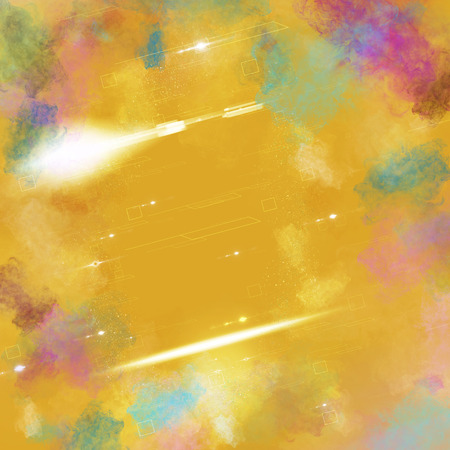 multi color: yellow background with multi color smoke illustration