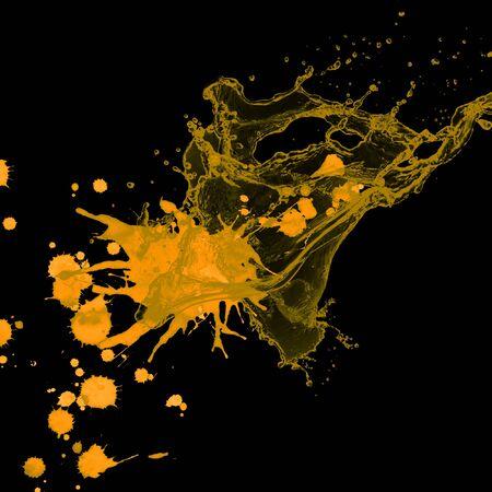 yellow paint: yellow paint splash black background