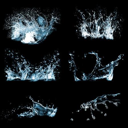 blue multiple water splash black background