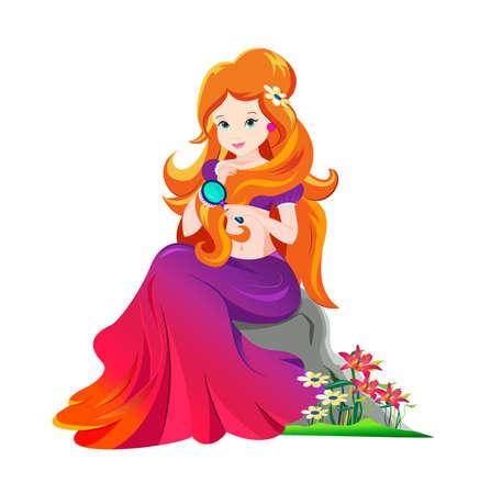 mooie prinses die haar haar kamt Stock Illustratie
