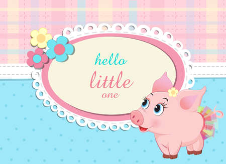 baby shower birthday invitation with cute little piglet