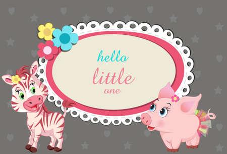 polkadot: baby shower birthday invitation with cute little baby animals