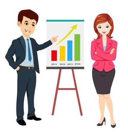 ビジネスの女性の進行状況レポートを示すとともにビジネスマン