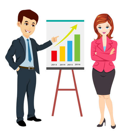 businessman along with business woman showing progress report