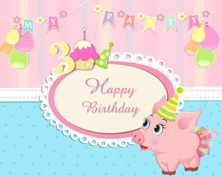 baby  birthday invitation with cute little piglet