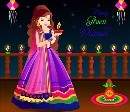 beautiful indian woman celebrating depawali festival green depawaliindian ethnic wear