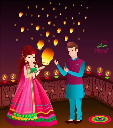 cute indian couple celebrating depawali festival wearing ethnic weargreen depawali concept  イラスト・ベクター素材